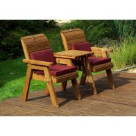 See more information about the Charles Taylor 2 Seat Set Straight Garden Bench - Burgundy Cushion