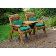 See more information about the Charles Taylor 2 Seat Companion Straight Garden Bench - Green Cushion