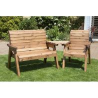 See more information about the 3 Seat Angled Tete-a-tete Companion Love Seat Garden Bench & Table