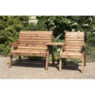 See more information about the Charles Taylor 3 Seat Set Straight Garden Bench - Green Cushion