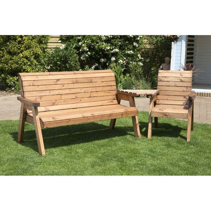 Charles Taylor 4 Seat Set Angled Garden Bench - Burgundy Cushion
