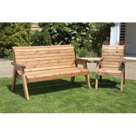 See more information about the Charles Taylor 4 Seat Set Angled Garden Bench - Green Cushion