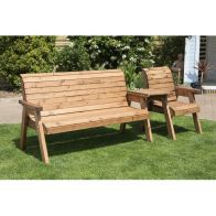 See more information about the Charles Taylor 4 Seat Set Straight Garden Bench - Burgundy Cushion