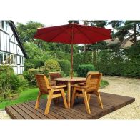 See more information about the Charles Taylor 4 Seat Round Garden Table Set - Burgundy Parasol & Base