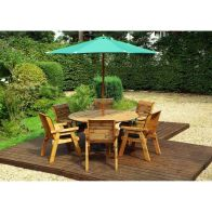 See more information about the Charles Taylor 6 Seat Circular Garden Table Set - Green Parasol & Base
