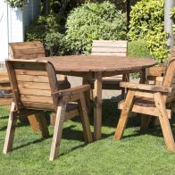 See more information about the 6 Seat Circular Table & Chairs Scandinavian Redwood Garden Furniture