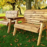 See more information about the Twin Straight 2 Seater Scandinavian Redwood Garden Bench Set