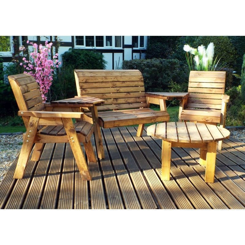 Charles Taylor 4 Seat Round Garden Set With Green Cushion