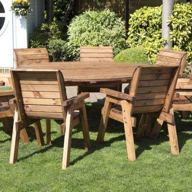 8 Seat Circular Table Delux Scandinavian Redwood Garden Furniture Set
