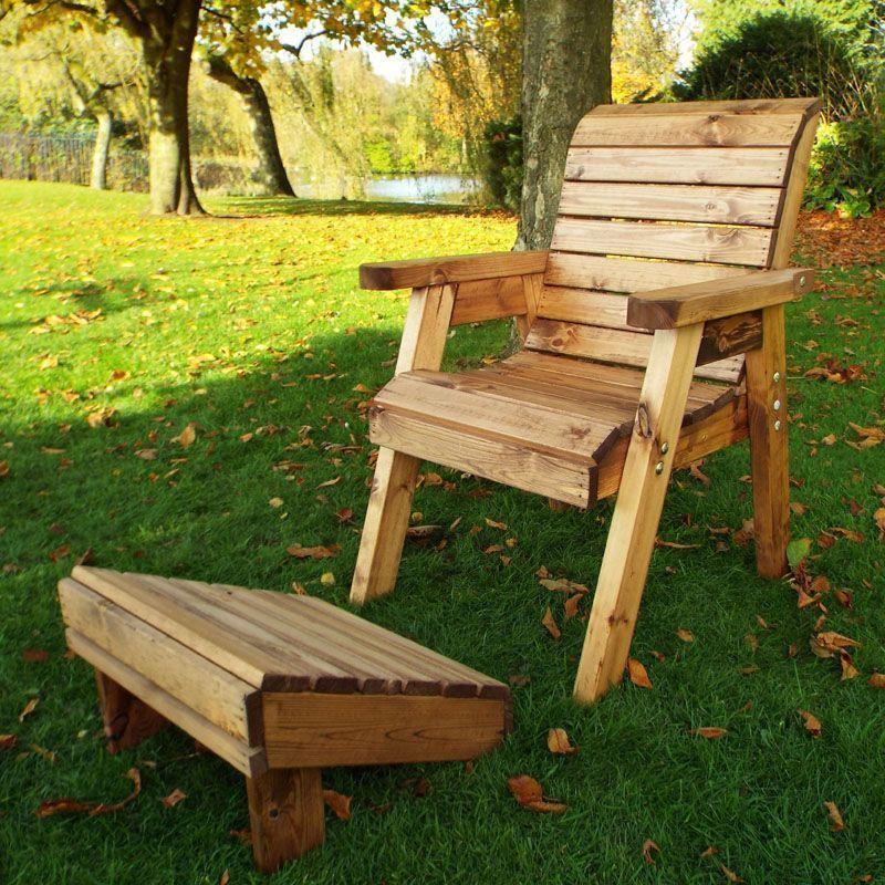 One Seater Lounger Chair U0026 Footstool Scandinavian Redwood Garden Set