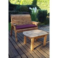 See more information about the Charles Taylor Deluxe 2 Seat Bench Set With Burgundy Cushion
