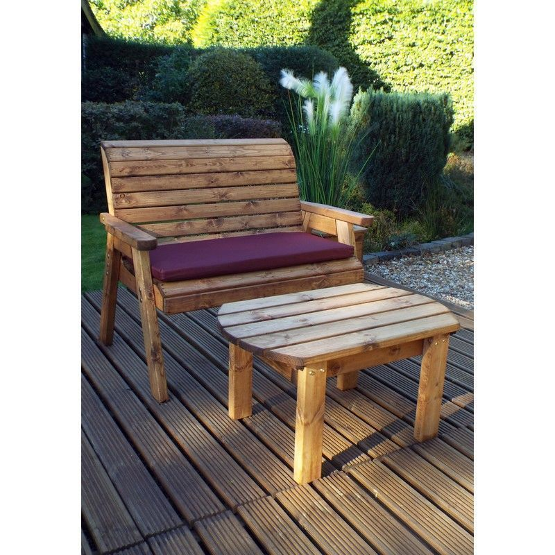 Charles Taylor Deluxe 2 Seat Bench Set With Burgundy Cushion