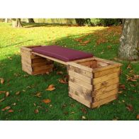 See more information about the Charles Taylor Deluxe Square Planter Bench With Burgundy Cushion