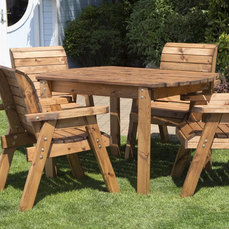 Four seater rectangular table set chairs garden patio for Outdoor furniture 12 seater