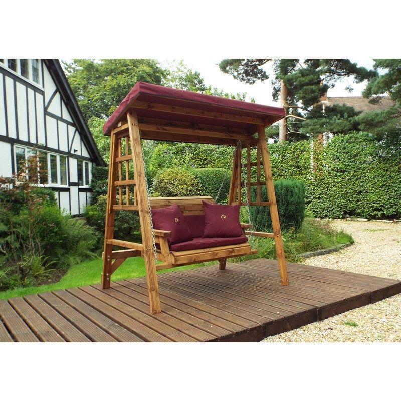 Charles Taylor Dorset 2 Seat Garden Swing With Burgundy Cushion