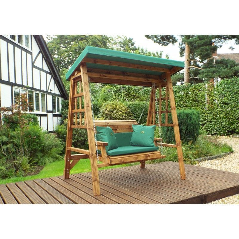 Charles Taylor Dorset 2 Seat Garden Swing With Green Cushion
