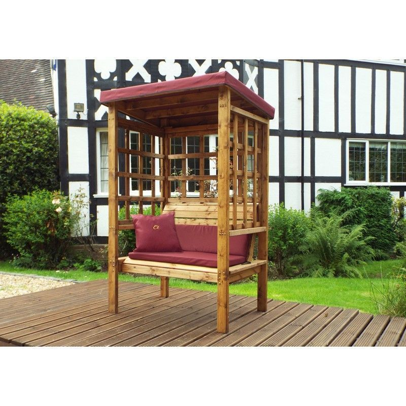 Charles Taylor Bramham 2 Seat Arbour With Burgundy Cushion