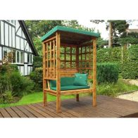 See more information about the Charles Taylor Bramham 2 Seat Arbour With Green Cushion