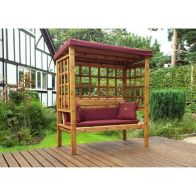 See more information about the Charles Taylor Bramham 3 Seat Arbour With Burgundy Cushion