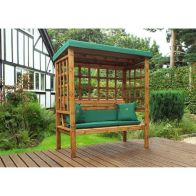 See more information about the Charles Taylor Bramham 3 Seat Arbour With Green Cushion