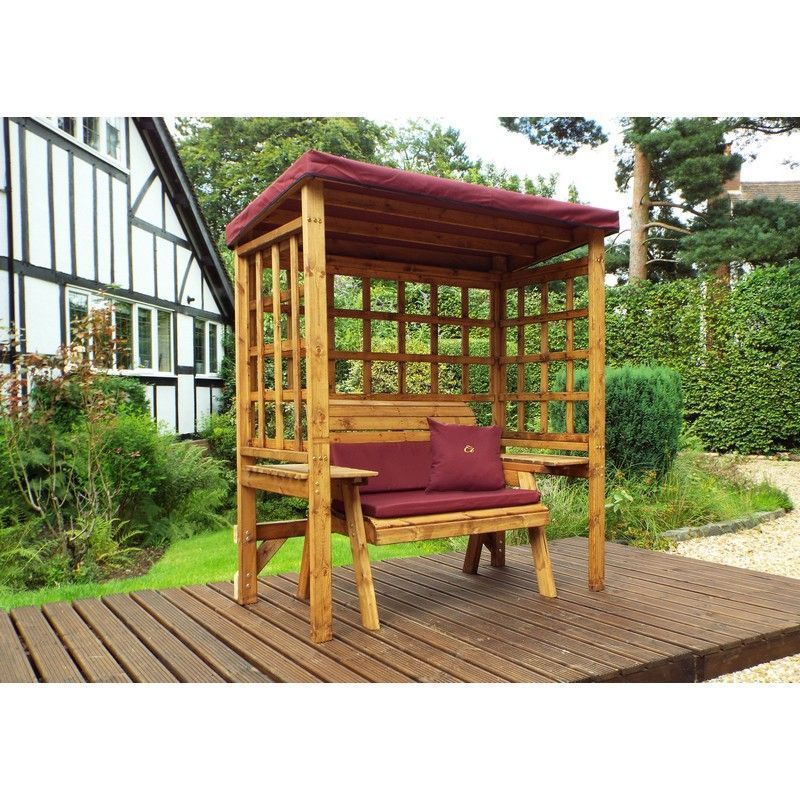 Charles Taylor Wentworth 2 Seat Arbour With Burgundy Cushion