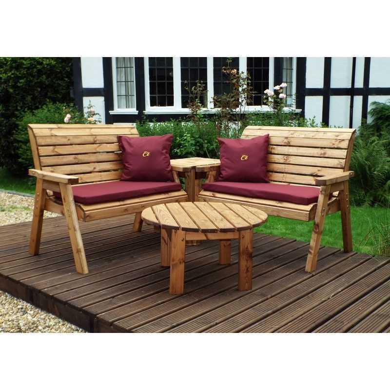 Charles Taylor 4 Seat Corner Garden Set With Burgundy Cushion