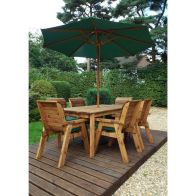 See more information about the Charles Taylor 6 Seat Garden Table Set With Green Parasol & Base