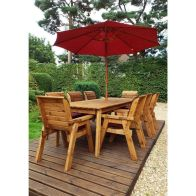 See more information about the Charles Taylor 8 Seat Rectangular Garden Set - Burgundy Parasol & Base