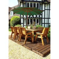 See more information about the Charles Taylor 8 Seat Rectangular Garden Set - Green Parasol & Base