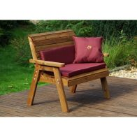 See more information about the Charles Taylor Traditional 2 Seat Garden Bench With Burgundy Cushion