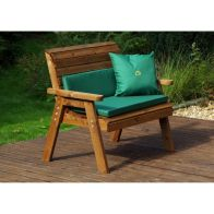 See more information about the Charles Taylor Traditional 2 Seat Garden Bench With Green Cushion