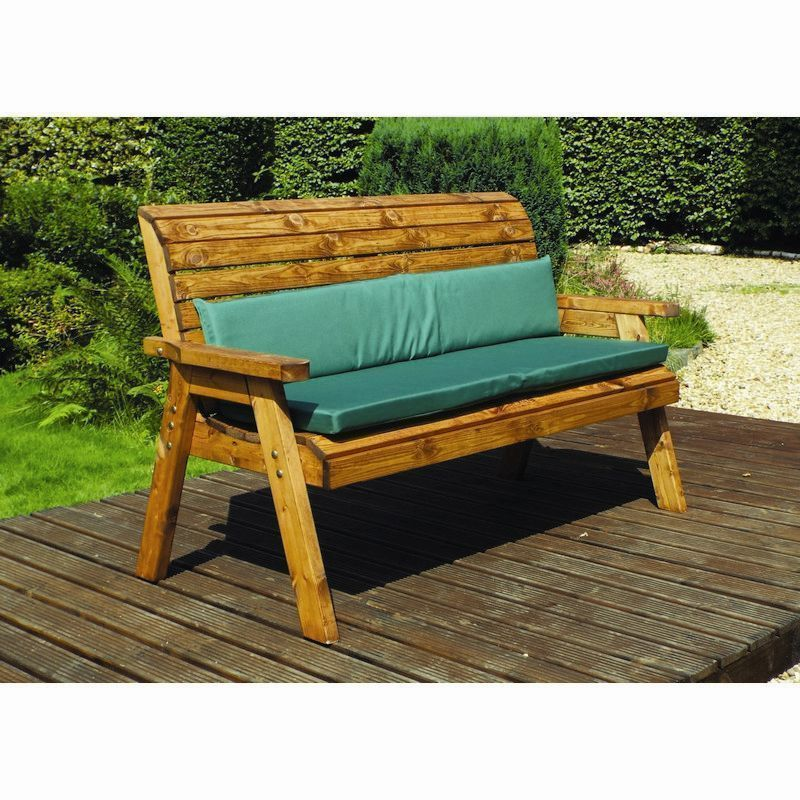 Charles Taylor 3 Seat Winchester Garden Bench With Green Cushion