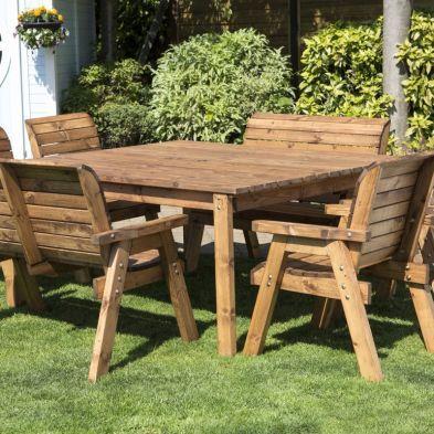 8 Seat Square Table Delux Scandinavian Redwood Garden Furniture Set