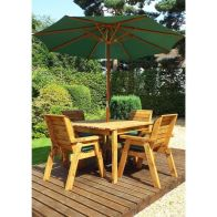 See more information about the Charles Taylor 4 Seat Square Garden Table Set - Green Parasol & Base