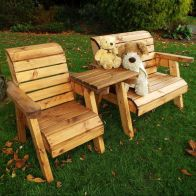 See more information about the Little Fellas 3 Seat Redwood Kids Bench & Chair Garden Furniture