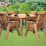 See more information about the 8 Seat Deluxe Chair Scandinavian Redwood Square Garden Furniture