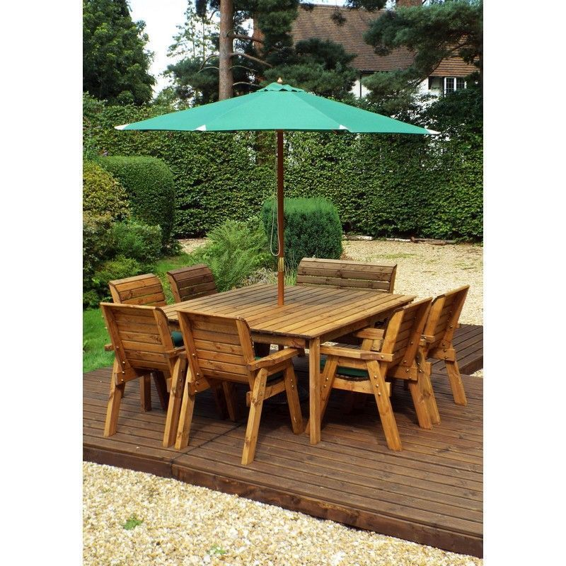 Charles Taylor 8 Seat Square Garden Table Set - Green Parasol & Base
