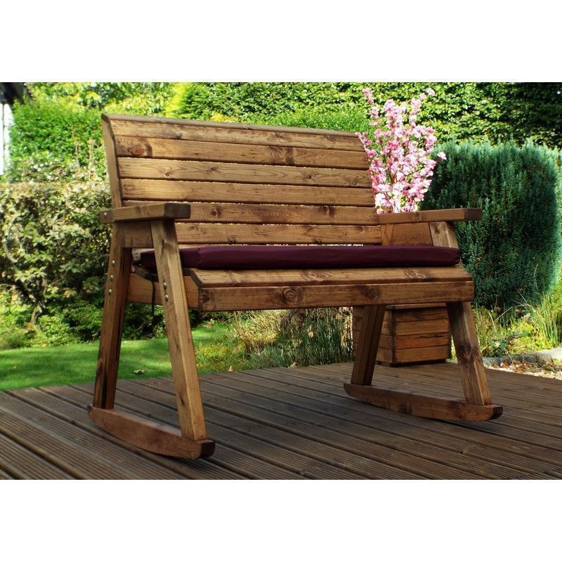 Charles Taylor 2 Seat Garden Bench Rocker With Burgundy Cushion