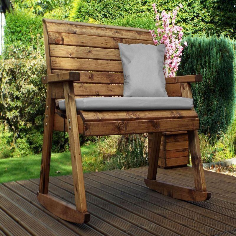 Seat Garden Bench Rocker Grey Cushions, Outdoor Rocking Bench With Cushions