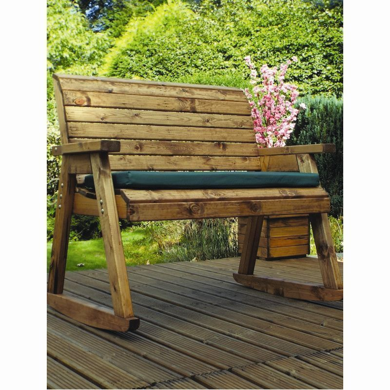 Seat Garden Bench Green Cushions, Outdoor Rocking Bench With Cushions