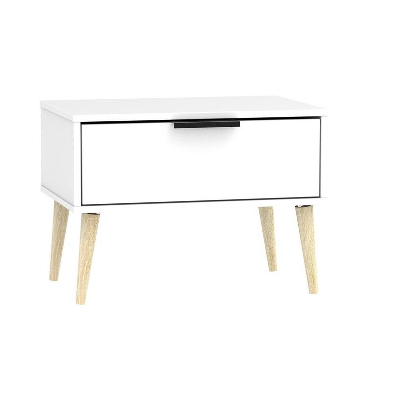 Drayton Midi Bedside White 1 Drawer Oak Style