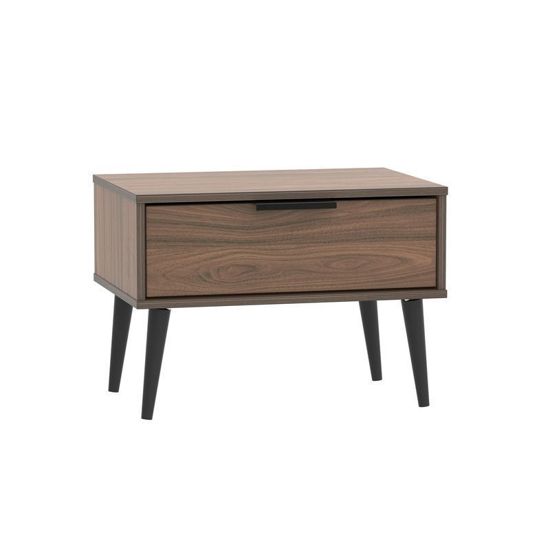 Drayton Wide Bedside Brown 1 Drawer Walnut Style