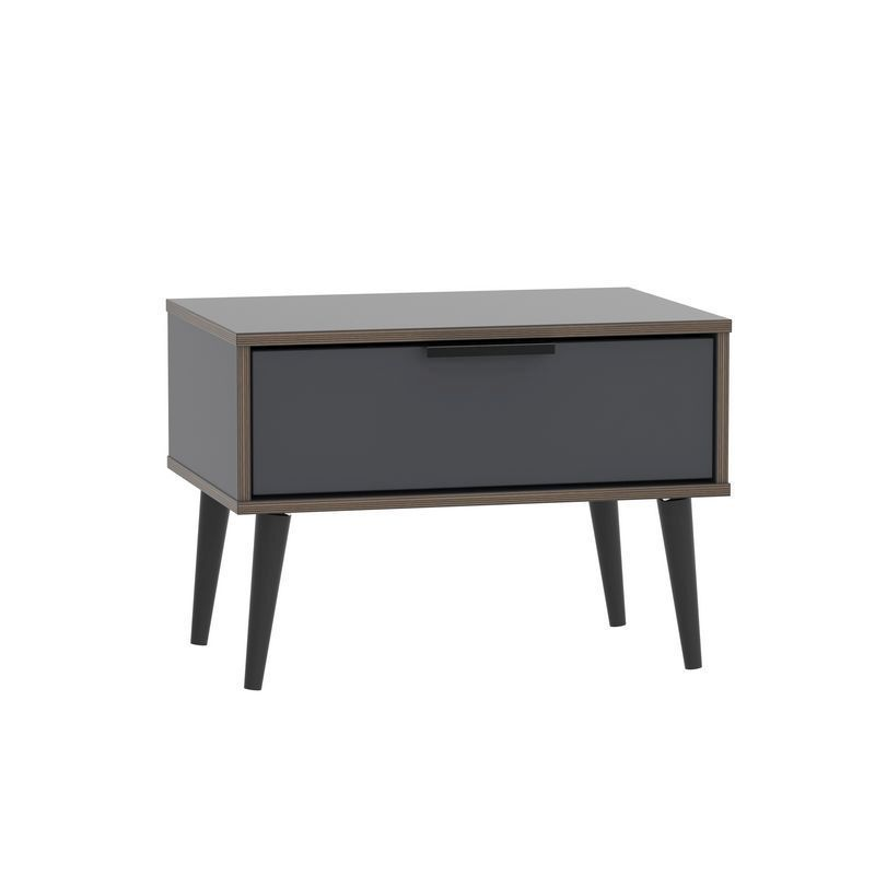 Drayton Wide Bedside Black 1 Drawer