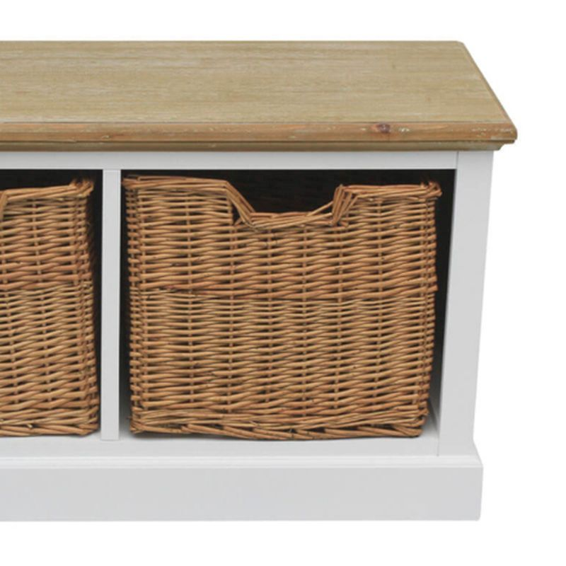 2 Wicker Baskets Country Coffee Table