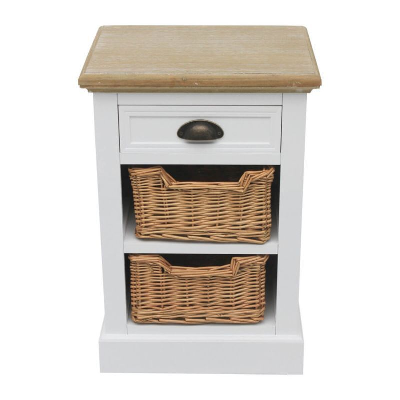 1 Drawer 2 Wicker Baskets Country Lamp Table