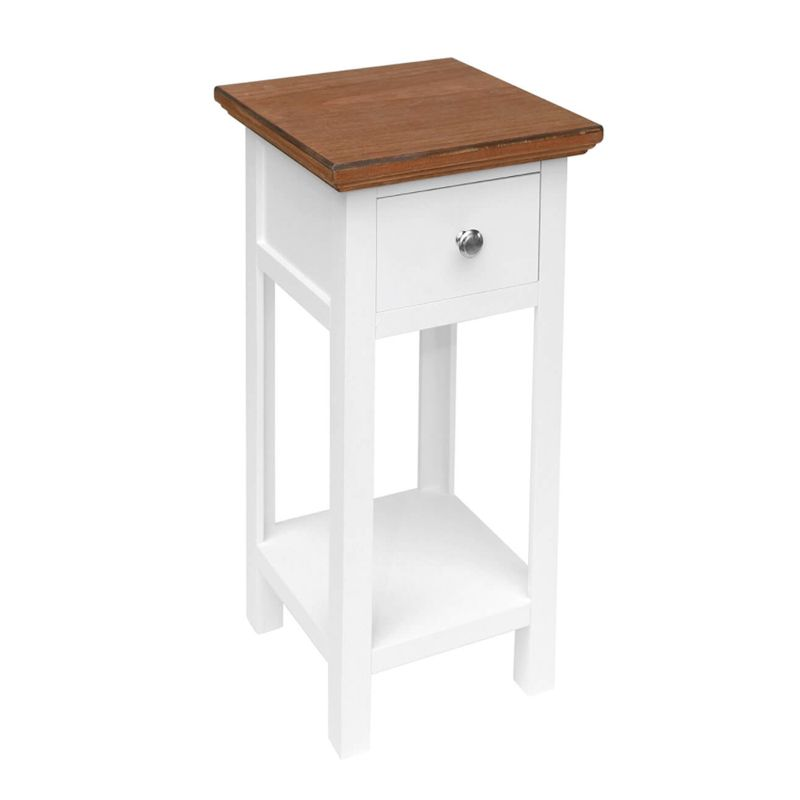 1 Drawer Shabby Chic Bedside Side Table - White