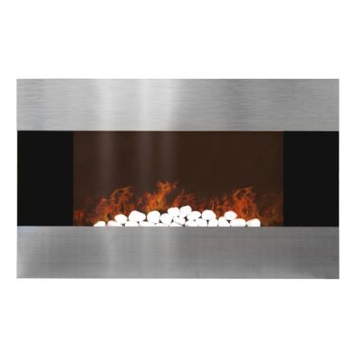 1.5kw Wall Mounted LED Electric Fire & Remote Control - Silver
