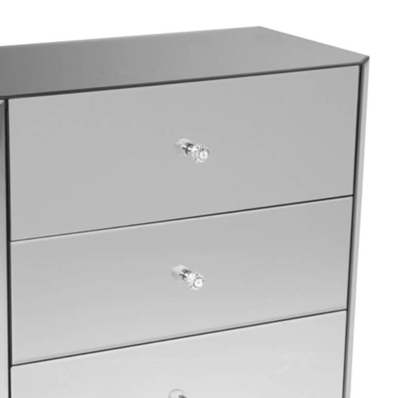 3 drawer mirrored glass chest of drawers with wooden legs buy online at qd stores. Black Bedroom Furniture Sets. Home Design Ideas