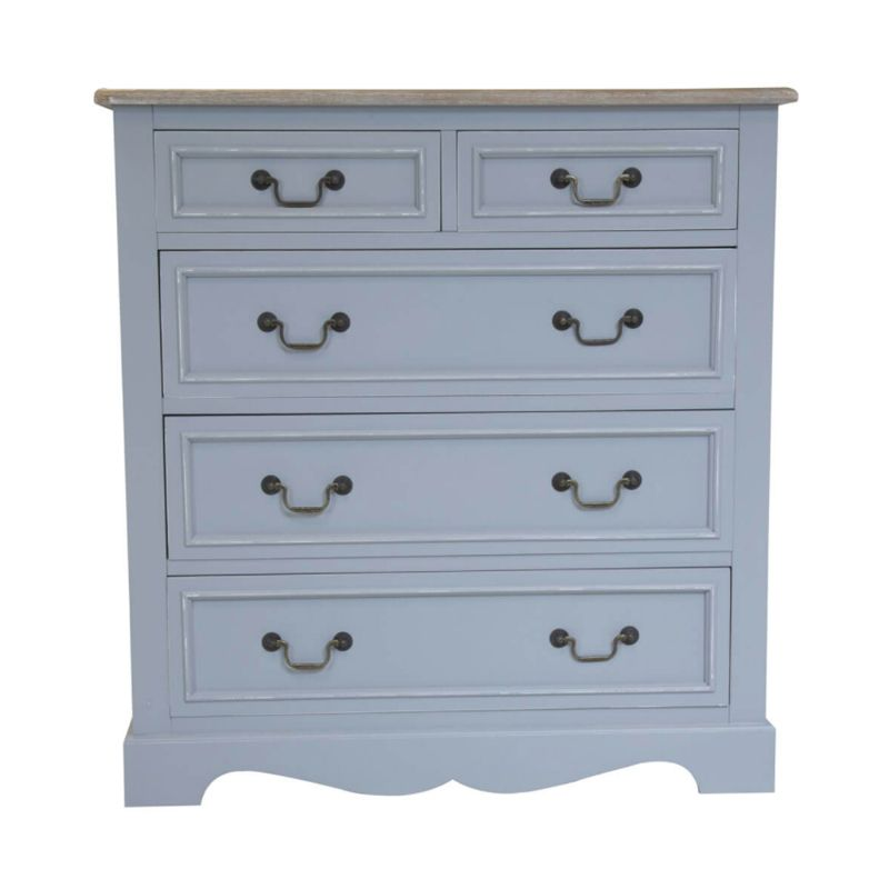 5 Drawer Loxley Vintage Solid Wood Chest Of Drawers - Grey