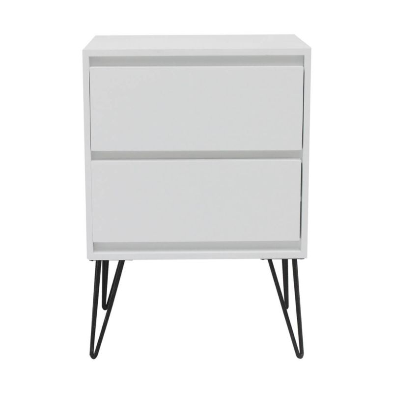 2 Drawer Bedside Table & Metal Legs